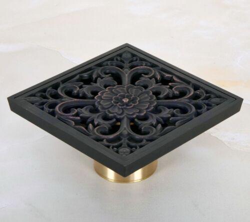 Black Oil Rubbed Bronze Carved Bathroom Square Shower Drain Floor Waste fhr049