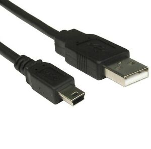 0-5m-MINI-USB-Cable-Sync-amp-Charge-Lead-Type-A-to-5-Pin-B-Phone-Charger-Black-3ft