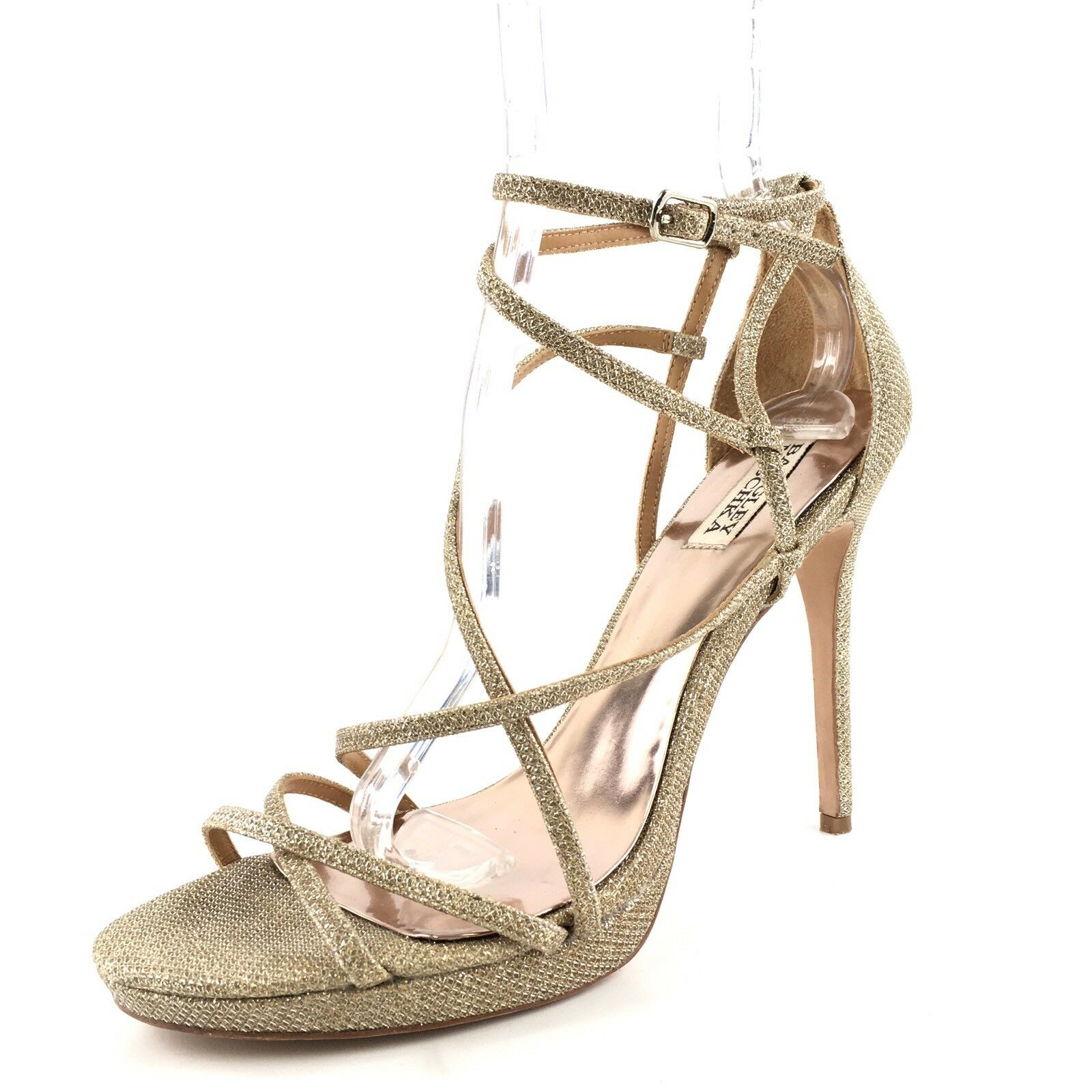 Badgley Mischka Landmark Gold Metallic Strappy Dress Sandales Damenschuhe Größe 10 M