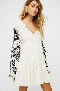 Free-People-Emerald-City-Mini-Dress-S-Casual-Embroidered-Long-Sleeve-NEW-15926
