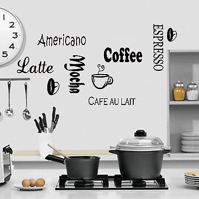 Large Coffee Kitchen Wall Quote Stickers Cafe Vinyl Art Decals Transfer SQE47