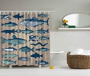 Image Is Loading Blue Fish Nautical Sea Ocean Beach Fabric Shower