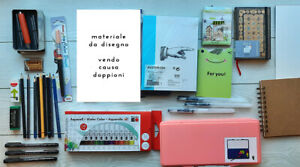Materiale da disegno: acquerelli, matite, gomme, quaderni, liner professionali