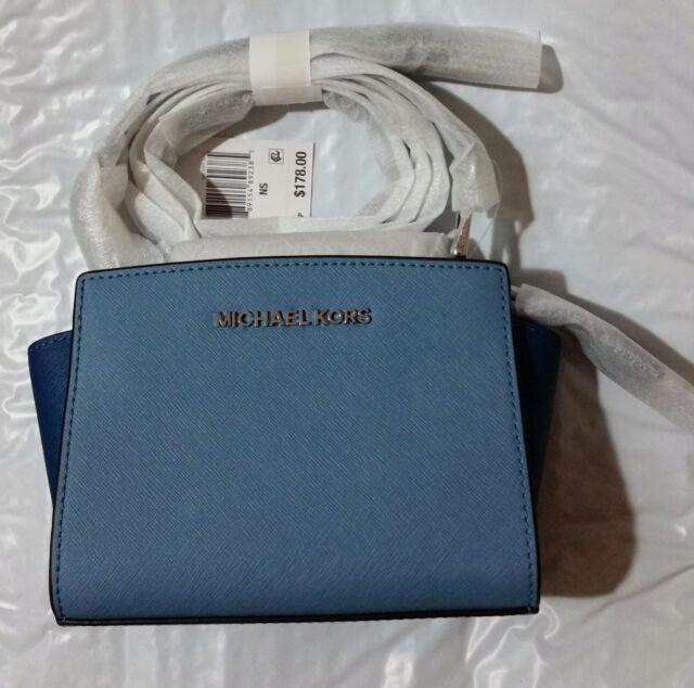 86c35587f1 Michael Kors Selma Mini Saffiano Leather Crossbody Bag (Sky Steel Blue Navy