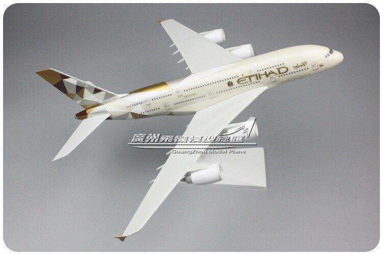 36CM 1 200 ETIHAD AIRBUS A380 Passenger Airplane ABS Plastic Assembled Model