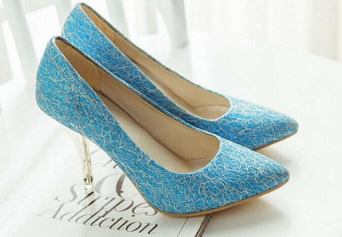 Décollte Chaussures Éscarpins Femme Talon Aiguille 9 cm Violet Bleu 8849