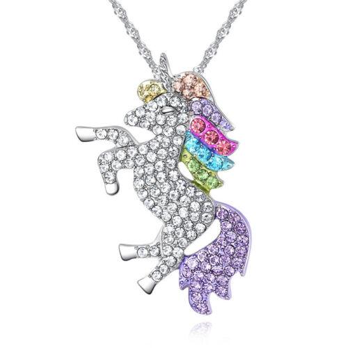 Unisex Halskette Kette Halsschmuck Anhänger  Pferd Strass Modeschmuck FL