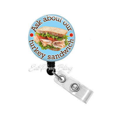 Turkey with Floral Feathers Badge Reel