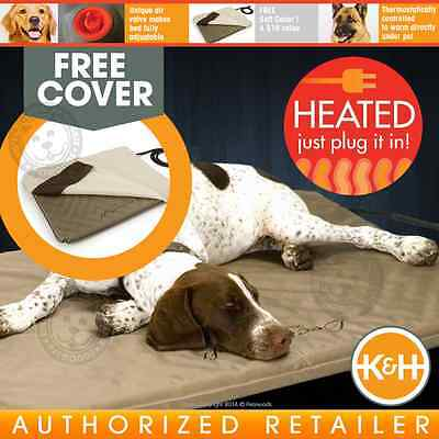 K&H Lectro-Soft Outdoor Indoor Heated Dog Bed Kennel Garage Home | KH1090 LARGE