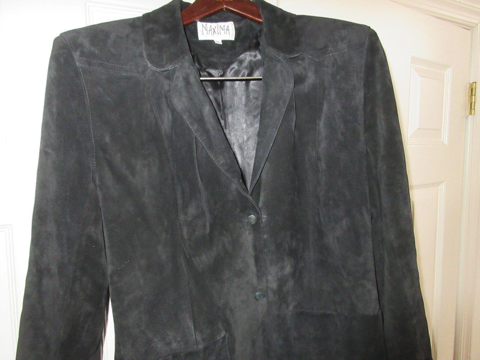 Maxima , Ladies Leather Black Fringed Jacket , Vintage