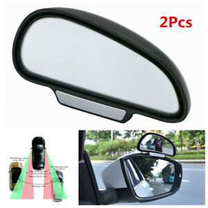 2 Pcs 45mm Adhesive Wide Angle Round Convex Car Blind Spot Mirror Silver Tone