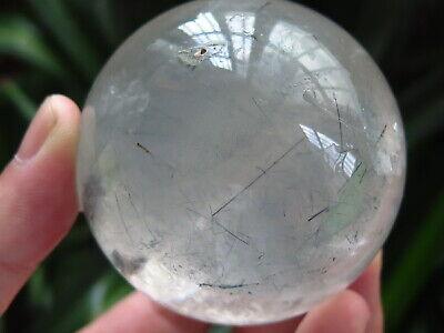 Natural clear silver Hair Rutilated Quartz Crystal Sphere Ball