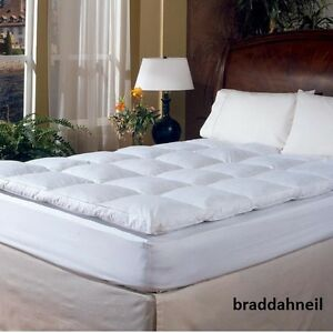 King Size Feather Down Bed Mattress Topper Pad Cover