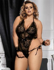 df6cd2692b6 Women s Sexy Plus Size Black Lace Lingerie Teddy Leotard 8 10 12 14 ...