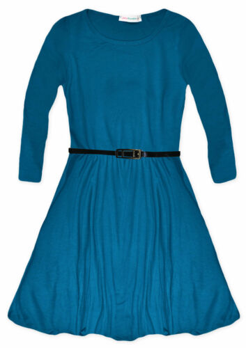 Girls Long Sleeved Skater Dress New Plain Party Flared Dresses Ages 5-13 Years