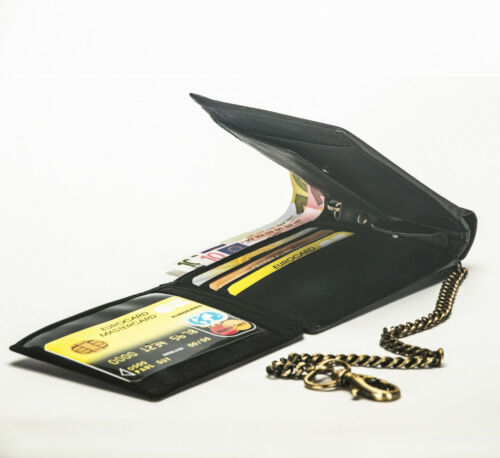 Hommes Véritable Grained Cuir Vintage enchaînés Portefeuille Rfid Sac à main carte de crédit titulaire