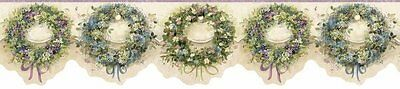 Cottage Floral Wreaths Lavender Wallpaper Border