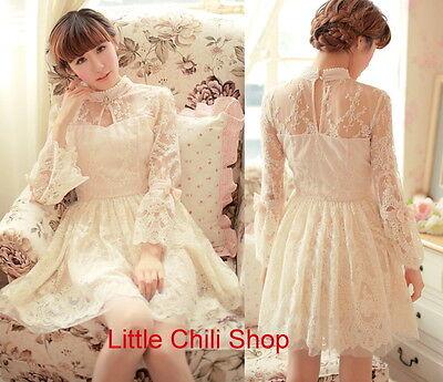 Pretty Kawaii Princess Cute Sweet Dolly Lolita Slim Long Sleeve Lace Dress white