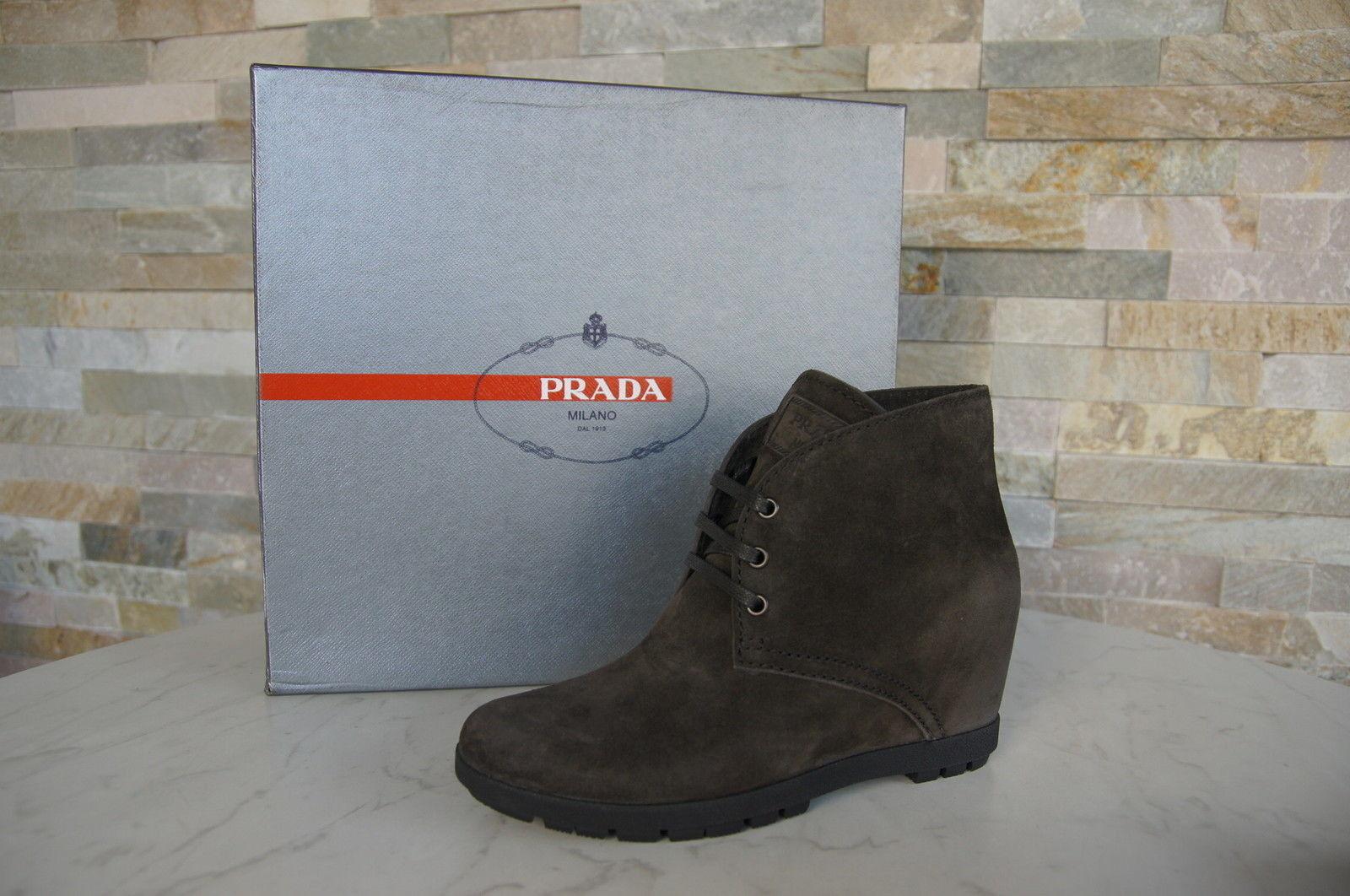PRADA Gr 38 Stiefeletten Stiefelies Stiefelies Stiefelies Schuhe Schnürschuhe hämathit neu ehem   a34f47