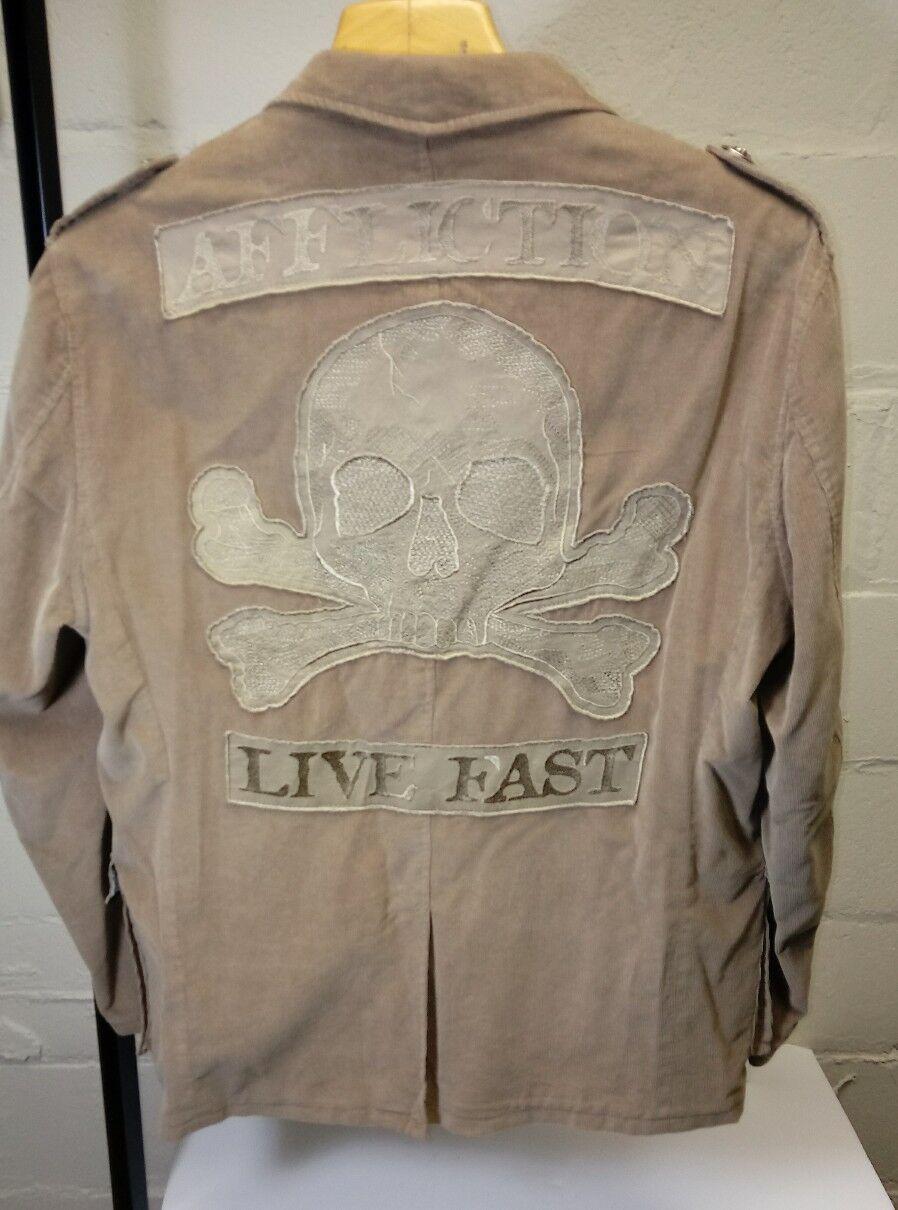 AFFLICTION RED LABEL PREMIUM Blazers & Sport Coats size L   44-46 Beige Skull