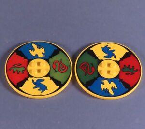 Lego-2x-Ronde-Jaune-Vitre-Env-6-5-cm-Chevalier-Lion-Aigle-Serpent-6177-Chima