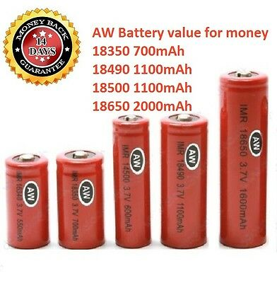 AW IMR 18650 18500 18490 18350 3.7V Rechargeable Battery For Torch & Mod Vape