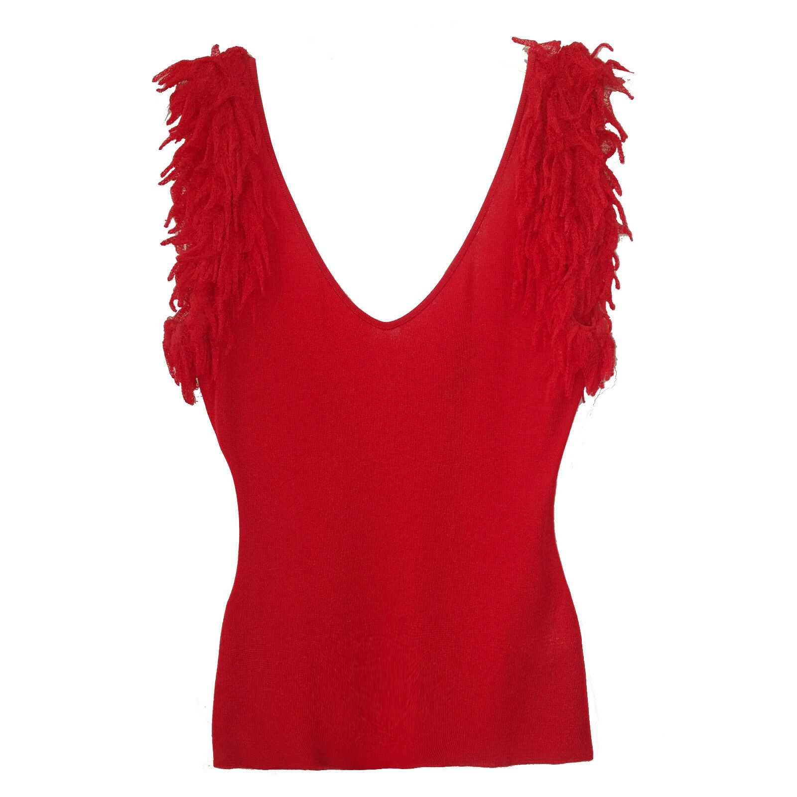 ROBERTO CAVALLI CORAL KNIT TOP WITH FRINGED DETAIL SZ L