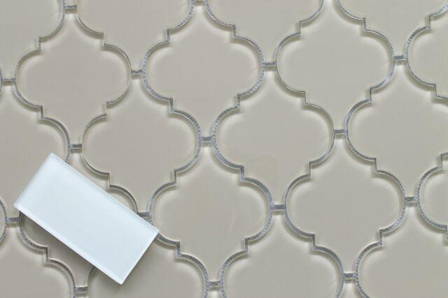 Sheep S Wool Light Beige Arabesque Glass Mosaic Tiles Kitchen Backsplash For Sale Online