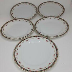 "Victoria China Czechoslovakia Gold Floral Salad Bread Dessert Plates Set5 7.5"""