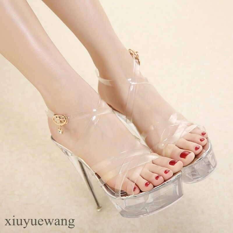 Womens Very High Heel Stiletto Clear Transparent Open toe Platform Shoes Size XY