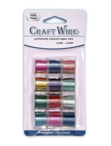 Pack 12 Reels Coloured Copper Wire for Craft// Jewellery Making PICK YOUR GAUGE