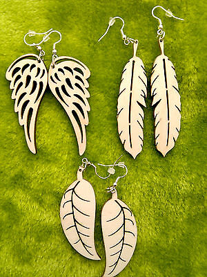 Wooden earrings kit natural plain wood craft decoupage laser cut wings feather