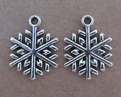 10pc Tibetan Silver Dangle Charm CHRISTMAS SNOWFLAKE Beads Accessories B044P