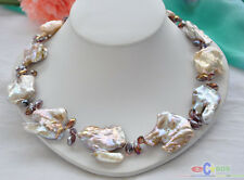 "P4406 20"" 40mm LAVENDER BAROQUE KESHI REBORN PEARL faceted crystal NECKLACE"