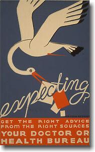 Expecting? Stork Baby Mom WPA Vintage Art Print POSTER