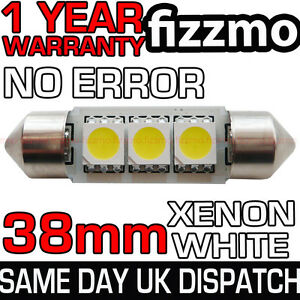 ERROR-FREE-CANBUS-3-SMD-LED-38mm-239-272-C5W-XENON-WHITE-NUMBER-PLATE-LIGHT-BULB