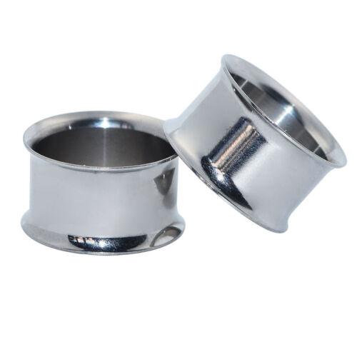 2PCS Stainless Double Flared Gauges Ear Plugs Earlets Earrings Flesh Tunnels US