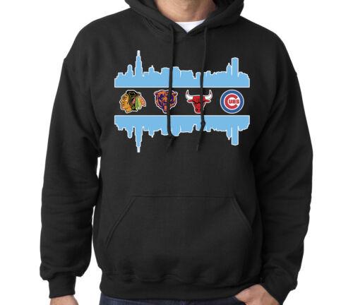 Chicago Skyline Fan Sport Teams Men/'s Combined Logo Mashup Sweatshirt Hoodie