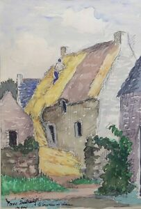 Pierre-Dubreuil-1891-1970-the-Roofers-Thatched-Brittany-Greco-Matisse-Quimper