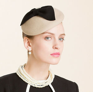 770175aeaa0 Image is loading Bow-Ladies-Beret-Felt-Wool-Fascinator-Cocktail-Wedding-