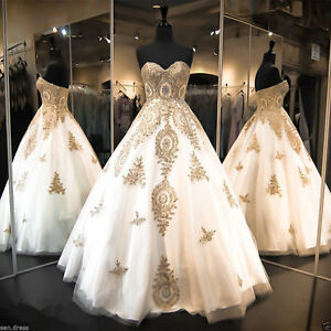 New White and Gold Applique Wedding Dresses Cathedral Train Bridal ...