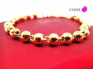 Bijoux-femmes-18K-18ct-Bracelet-perle-en-or-massif-or-jaune-7-pouces