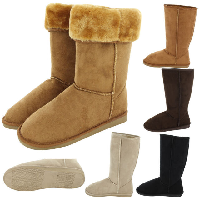Womens Boots Fur Faux Suede Mid Calf Fashion Winter Warm Sheepskin Snow Shoes