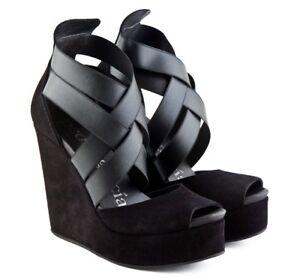 Pedro-Garcia-Black-Suede-Stretch-Elastic-Alba-Wedge-Sandals-Platform-Shoes-37-5