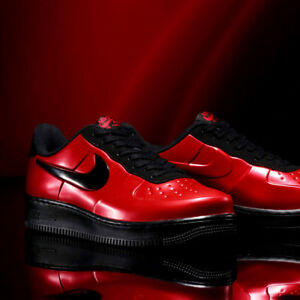34319dd5ceb Nike Air Force One 1 Low Cup Foamposite 12 Shoes Red Metallic Black ...