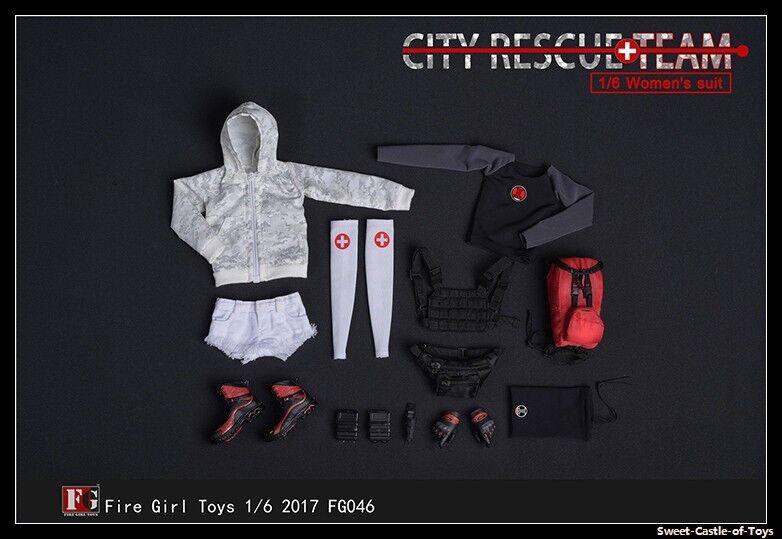 1/6 Fire Girl Toys Accessory FG046 Female City Rescue Team Suit Uniform Set