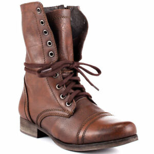 9fba9eddea1 Steve Madden TROOPA Womens Brown Leather High Lace Up Combat Boots ...