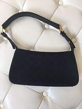 Gucci Vintage Black GG Canvas w/ Leather Trim Small Shoulder Bag