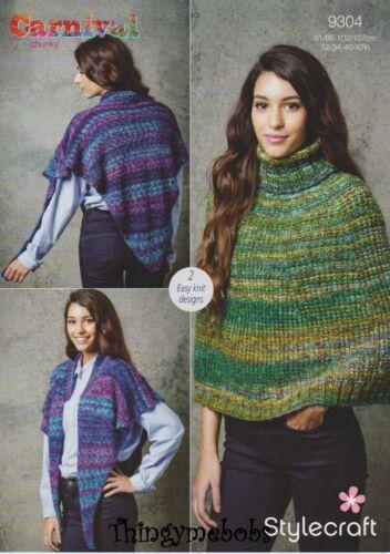 Stylecraft 9304 Knitting Pattern Womens Cape Reversible Poncho