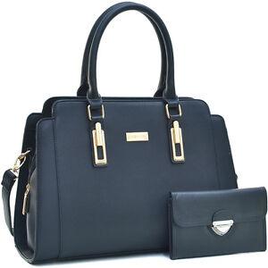 Dasein-Womens-Handbags-Faux-Leather-Satchel-Tote-Bag-Large-Purse-w-w-no-Wallet